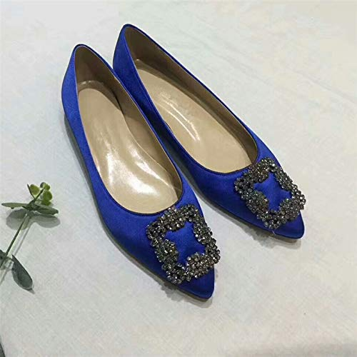 Evening Chris Slip Pointed T Blue 4 US Heel Full 15 flats Pumps Stiletto Pumps Women's High Toe Satin Jeweled Diamonds On Sole rr48ZOq