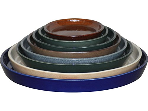 K&K Round Saucer for Venus II Flower Pot with and without Handle 19x15 cm, diameter 16 cm blue-flamed from stoneware (high-quality ceramics) K&K Keramik