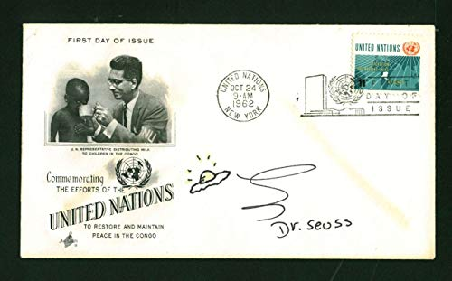 - Dr. Seuss Signed Autographed Green Egg Sketch First Day Cover Beckett BAS 10