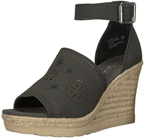 (Sugar Women's Sgr-Heated Espadrille Wedge Sandal, Black Nubuck, 8.5 M US)