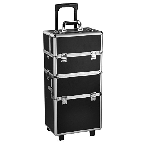 3 in 1 Pro Aluminum Rolling Makeup Case Salon Cosmetic Organizer Trolley-Black By Allgoodsdelight365 by allgoodsdelight365