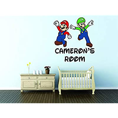 Personalized Names Custom Name Super Mario Brothers and Luigi Mario Video Game Character Characters Decal Decals Stickers for Kids Bedroom/Boys Wall Vinyl Sticker Walls Room Rooms (20x20 inch): Home & Kitchen