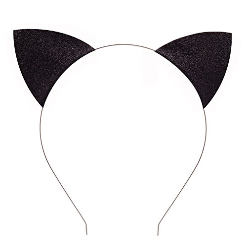 Merroyal Glitter Cat Ears Headband Halloween Fancy Dress Cat Woman Hairband Cosplay (Black)