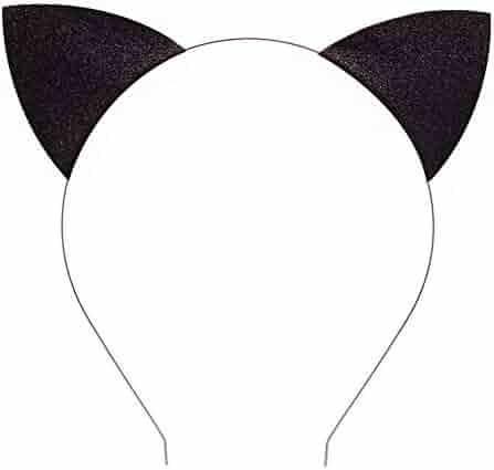Merroyal Glitter Cat Ears Headband Halloween Fancy Dress Cat Woman Hairband Cosplay (Black)