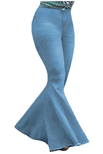Comaba Women's Denim Bell-Bottoms Retro Cowboy Burr Regular-Fit Jeans Pants Light Blue XL -