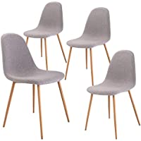 Giantex Dining Side Chairs Set of 4 Sturdy Metal Legs...