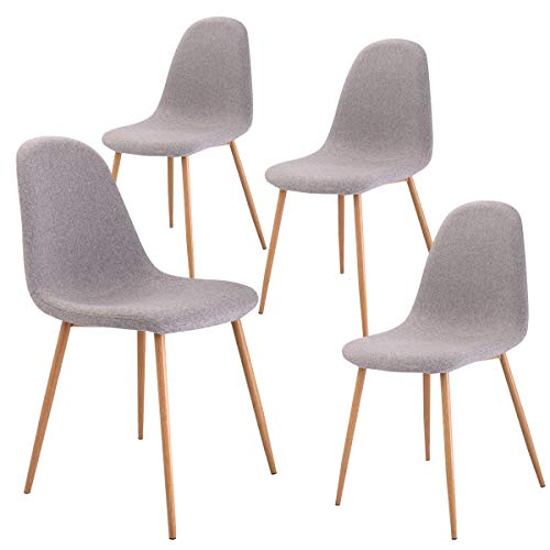 Leg Dining Set Room (Giantex Dining Side Chairs Set of 4 Sturdy Metal Legs Wood Look Fabric Cushion Seat Back Home Dining Room Furniture Chairs Set, Gray)