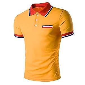 Realdo Men's Slim Polo Shirt, Casual Fahison Button Down Color Splice Pullover Top(Orange,Large)