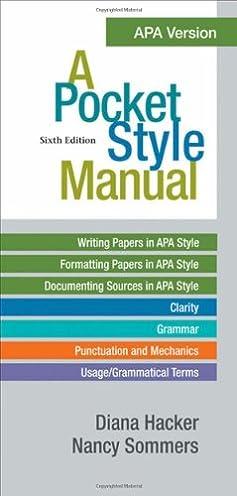 amazon com a pocket style manual apa version 9780312568498 rh amazon com APA Style apa manual 7th edition amazon