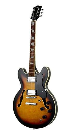 Premium Full Size Tobacco Sunburst Electric Semi Hollow Body Jazz Guitar w/ Tune-O-Matic & Double Humbucker & DirectlyCheap(TM) Translucent Blue Medium Pick