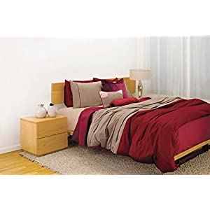 Image of 2 threads Duvet Cover in Burgundy red and Taupe