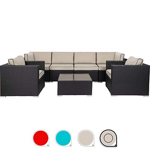Walsunny 7pcs Patio Outdoor Furniture Sets,All-Weather Rattan Sectional Sofa with Tea Table&Washable Couch Cushions (Black Rattan (Blue)(armrest Version) (Khaki with Black Side)