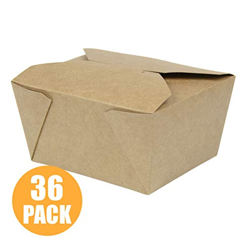 "[36 Pack] 30 oz 5 x 4.5 x 2.5"" Disposable Paper Take Out Food Containers, Microwaveble Folding Natural Kraft to Go Boxes #1"