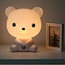 Wintimes Lovely Baby Room Light Cartoon White Bear Kids Bed Lamp Night Sleeping Desk Lamp Light Best for Holiday Gifts