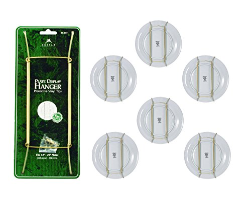 TRIPAR Decorative Plate Display Hanger, Brass Plate Wires, Easy Fit Guarantee, Up to 20-inch Plates, Set of 6