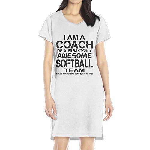 Richard Women's I Am A Coach Of A Freakishly Awesome Softball Team Leisure White Short Sleeve V-Neck Dress M