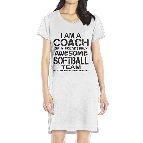 Richard Women's I Am A Coach Of A Freakishly Awesome Softball Team Leisure White Short Sleeve V-Neck Dress M