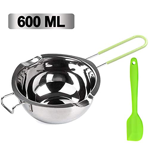 Stainless Steel Double Boiler Pot, 600ML Updated Melting Pot with Silicone Spatula for Melting Butter,Chocolate, Candy, Cheese and Caramel