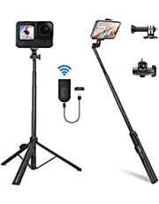 """Selfie Stick Tripod, PEYOU 62"""" 5 in 1 Extendable Tripod Stand with Rechargeable Bluetooth Remote & 360°Rotation, Lightweight Aluminum Phone Tripod Selfie Stick for iPhone Android Phone Gopro"""