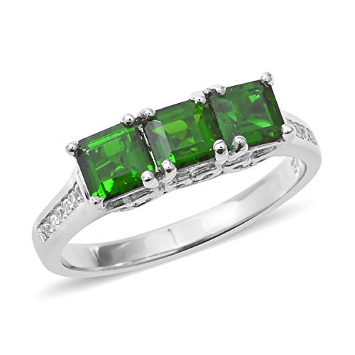 Square Chrome Plated Clock - 925 Sterling Silver Platinum Plated Square Chrome Diopside White Zircon Ring for Girl Size 8 Cttw 1.8
