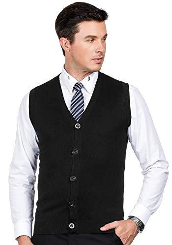 - PJ PAUL JONES Men's Lightweight V-Neck Knitwear Waistcoat Button Front Sweater Vest Black L