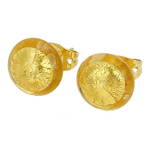 - GlassOfVenice Murano Glass Button Stud Earrings - Sunshine Gold