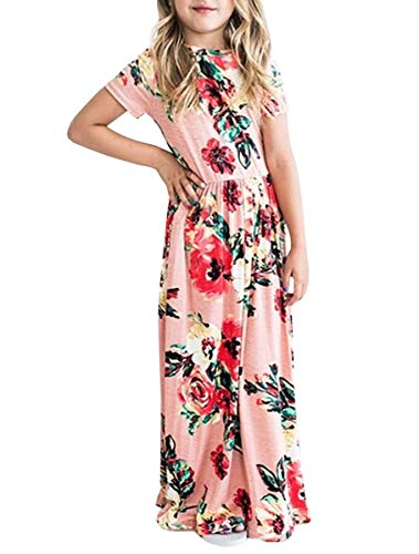 LYXIOF Girls Floral Maxi Dress with Pockets Short Sleeve Holiday Dress Pink 110CM