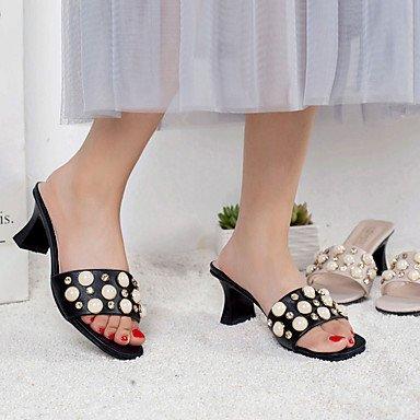 LvYuan Mujer Sandalias Confort PU Verano Confort Tacón Bajo Negro Beige 7'5 - 9'5 cms beige