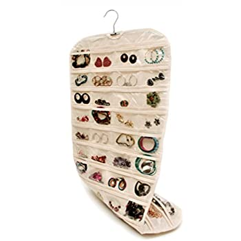 Closet Complete: Premium Quality CANVAS, Hanging Jewelry Organizer | Double Sided, 360 Degree Rotation, 80 Pockets | Best for Jewelry & Accessory Organization