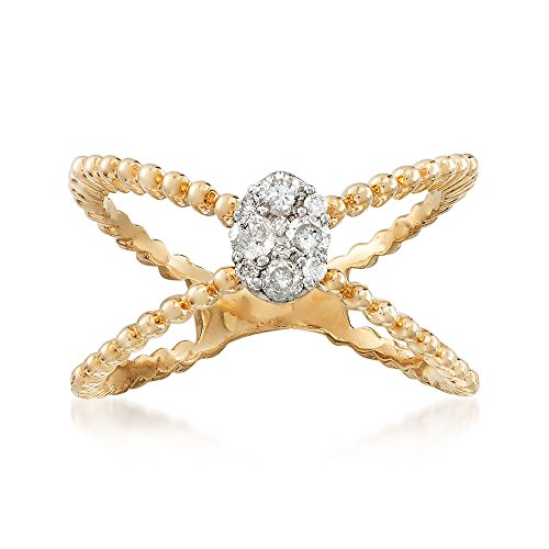 Ross-Simons .25 ct. t.w. Pave Diamond Crisscross Ring in 14kt Yellow (0.25 Ct Cross)