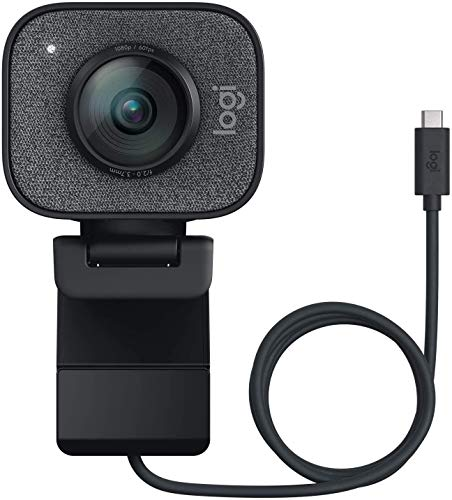 Logitech StreamCam, 960-001282,1080P HD 60fps Streaming Webcam with USB-C and Built-in Microphone, Graphite Black Full HD Camera For Live Streaming And Content Creation