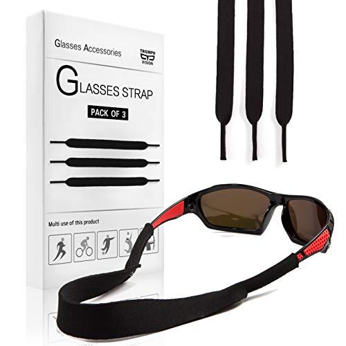 Neoprene Floating Sunglasses Strap 3Pack - Black Eyewear Retainer Sports Glasses ()
