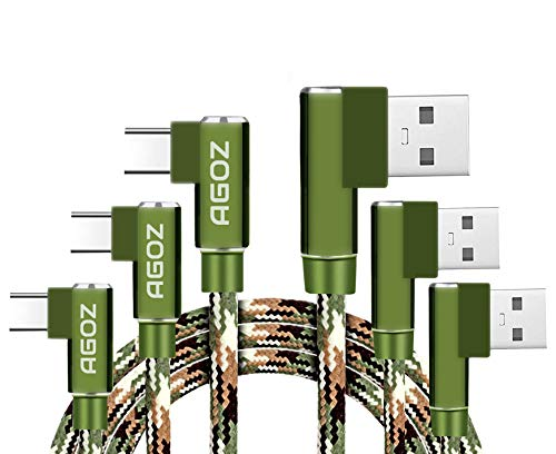 Agoz 3pack USB C Charging Cable 4/6/10ft 90 Degree Right Angle Type C Cord For Samsung Galaxy S10 Plus Note 10 9 8, S9 S8 A10e A20 A50, LG Stylo 4 G7, Moto G8 Z4 Z3, Google Pixel, OnePlus 7T 6T (Camo)