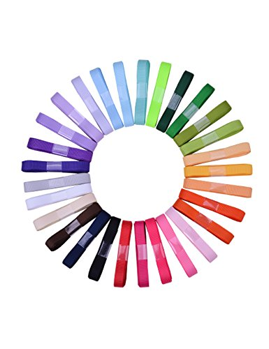 Ribest 3/8 inch Solid Grosgrain Ribbon Set for Gift Wrapping and Bow Hair Accessories-60 Yards (2 Yards30 Colors)