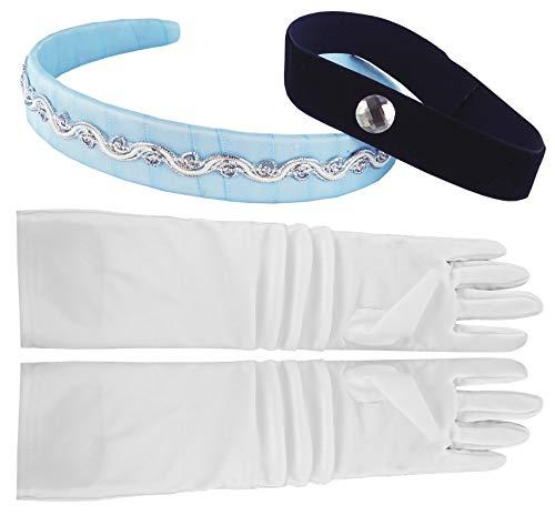 Little Pretends Cinderella Headband, Choker & Gloves Set, White/Black/Blue, OSFA -
