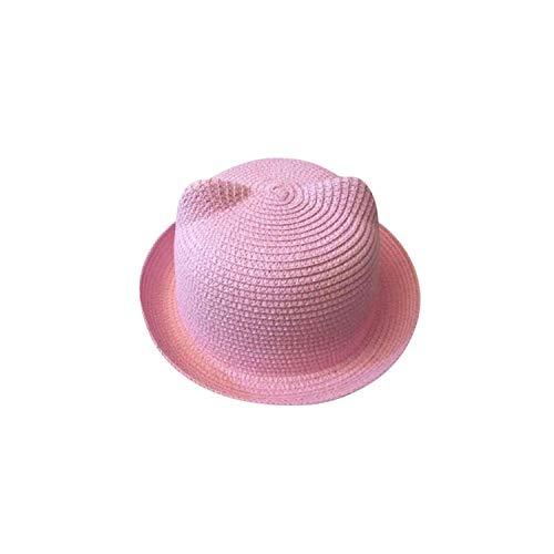 Fashion Ears Straw Baby Hats for Girls Boys Sun Summer Cap Kids Solid Beach Panama Caps,Pink