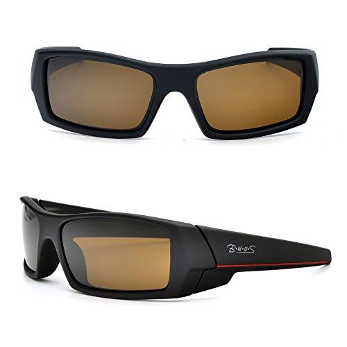 BNUS Ranger Rectangular Sports Sunglasses polarized for men women Italian made Corning natural glass lens (Frame: Matte Black - Red L / Lens: Brown B15, - L Sunglasses