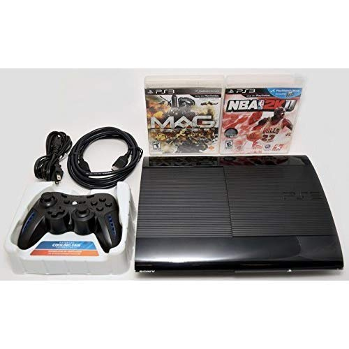 Sony Playstation 3 Super Slim 250GB Game Console System Bundle PS3 w/2 Games MAG NBA 2K11 (Ps3 System Games)