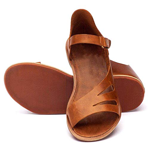 (WENSY Women's Fashion Solid Color Buckle Hollow Open Toe Ankle Flat Shoes Sandals Roman Shoes Casual Shoes(Brown,42))
