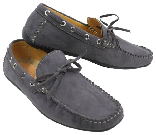 Mens Deck Boat Moccasin Suede Leather Lace Up Shoes Italian Red Grey Black Baby Blue Grey BmXUoMk5