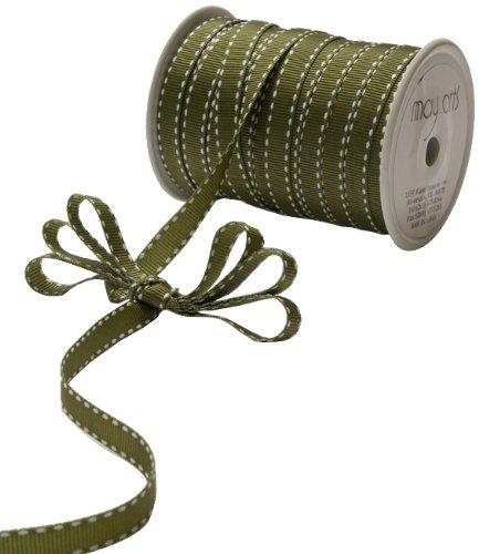 [May Arts 3/8-Inch Wide Ribbon, Olive Grosgrain] (Olive Green Grosgrain Ribbon)