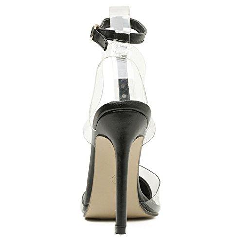 Zapatos Ponerse Mujer Para Sandalias Correa Aguja Punta Puntiaguda Sexy De De Tacones Para Black Tacones Remache Tobillo Altos Boda wxZBPZ1