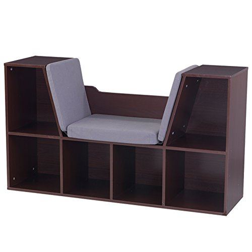 KidKraft Bookcase with Reading Nook Toy, Espresso - Kidkraft Natural Bookshelf