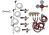 4 Faucet Party Tap Keg Kit, Commercial Tap, Taprite Regulator by Kegconnection