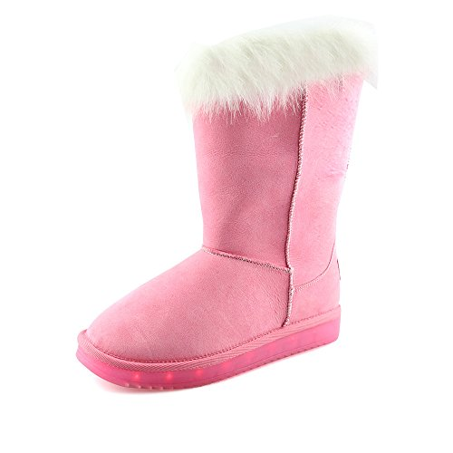 Woman Winter Plush Ankle Slip-on Snow Boots Round Toe Led Fashion Boots?Pink 2.5 M US Little Kid?