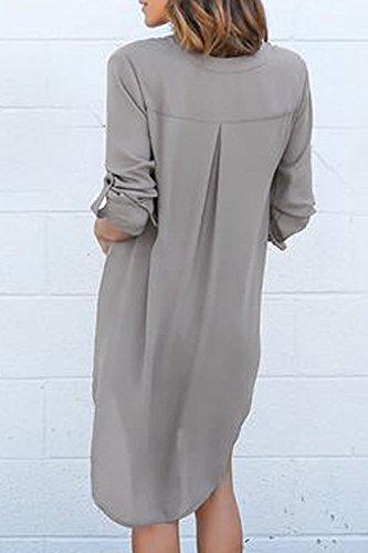 Lunghe Delle Grey Eleganti Camicette Donne Vestito Risvolto Maniche Le Solido A 0xRIw6wvq