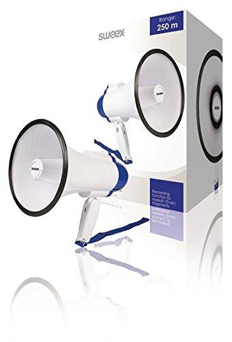 Megafon Integriertes Mikrofon Weiss/Blau, Mit diesem kompakten Sweex Megafon mit eingebauter (973977011883)