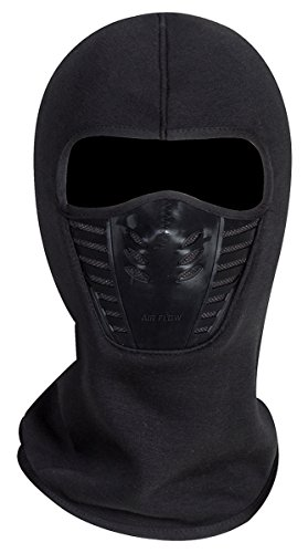 Black Winter Ski - Adult Winter Fleece Grasping Balaclavas Face Cover Windproof Ski Mask Hat Halloween.YR.Lover Black