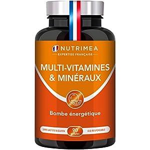 Multivitamines et Minéraux – Formule Unique au GINSENG – Vitamines B1, B3, B6, B9, B12, C, D3, Fer et Calcium – Energie…