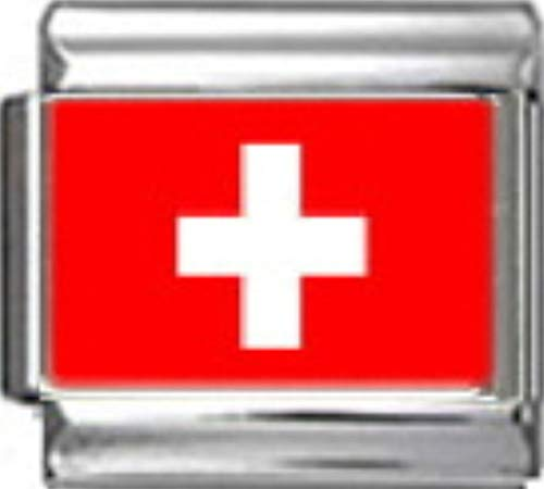- Stylysh Charms Switzerland Swiss Flag Photo Italian 9mm Link PC170